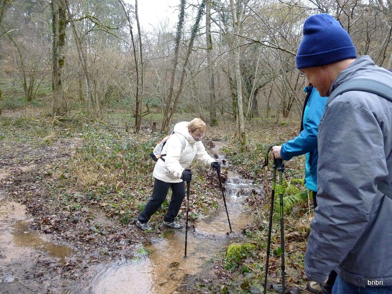 Là, pas de pont, faut enjamber, pas facile pour nos petites jambes ! pas de pieds dans l'eau, bravo.