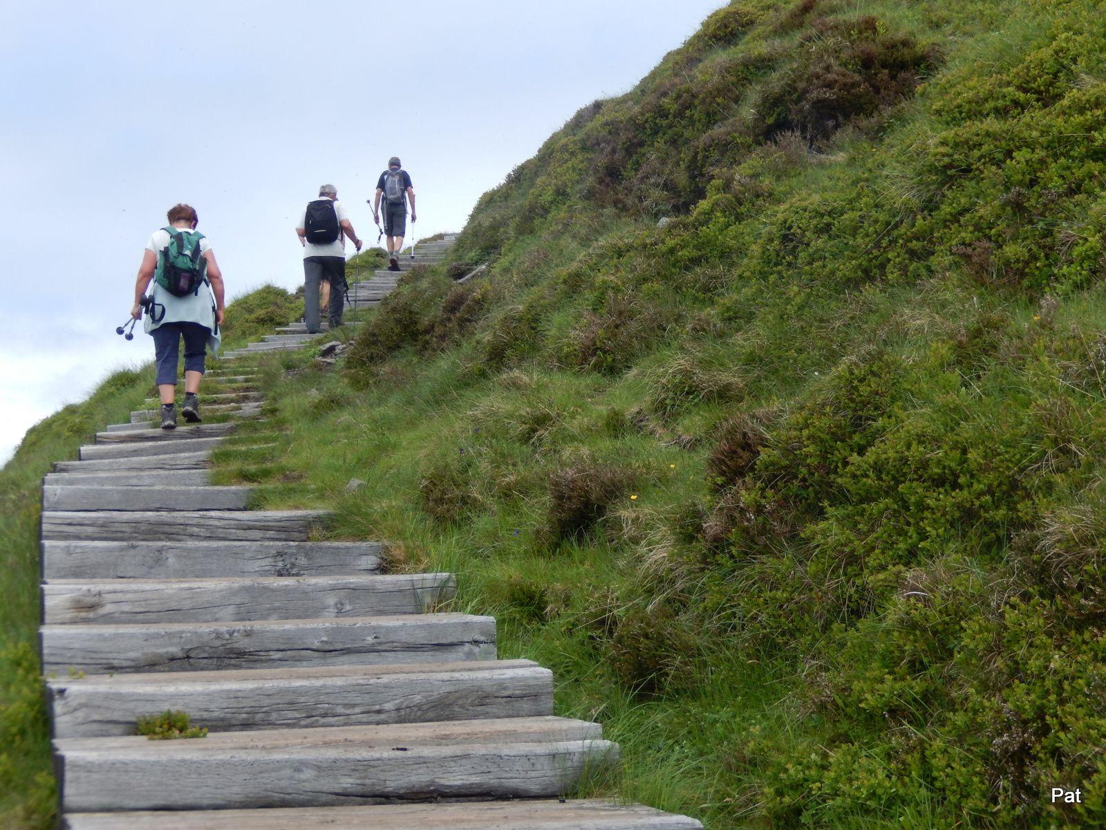 Les marches facilitent un peu la fin du parcours. Murat-le-Quaire en dessous.
