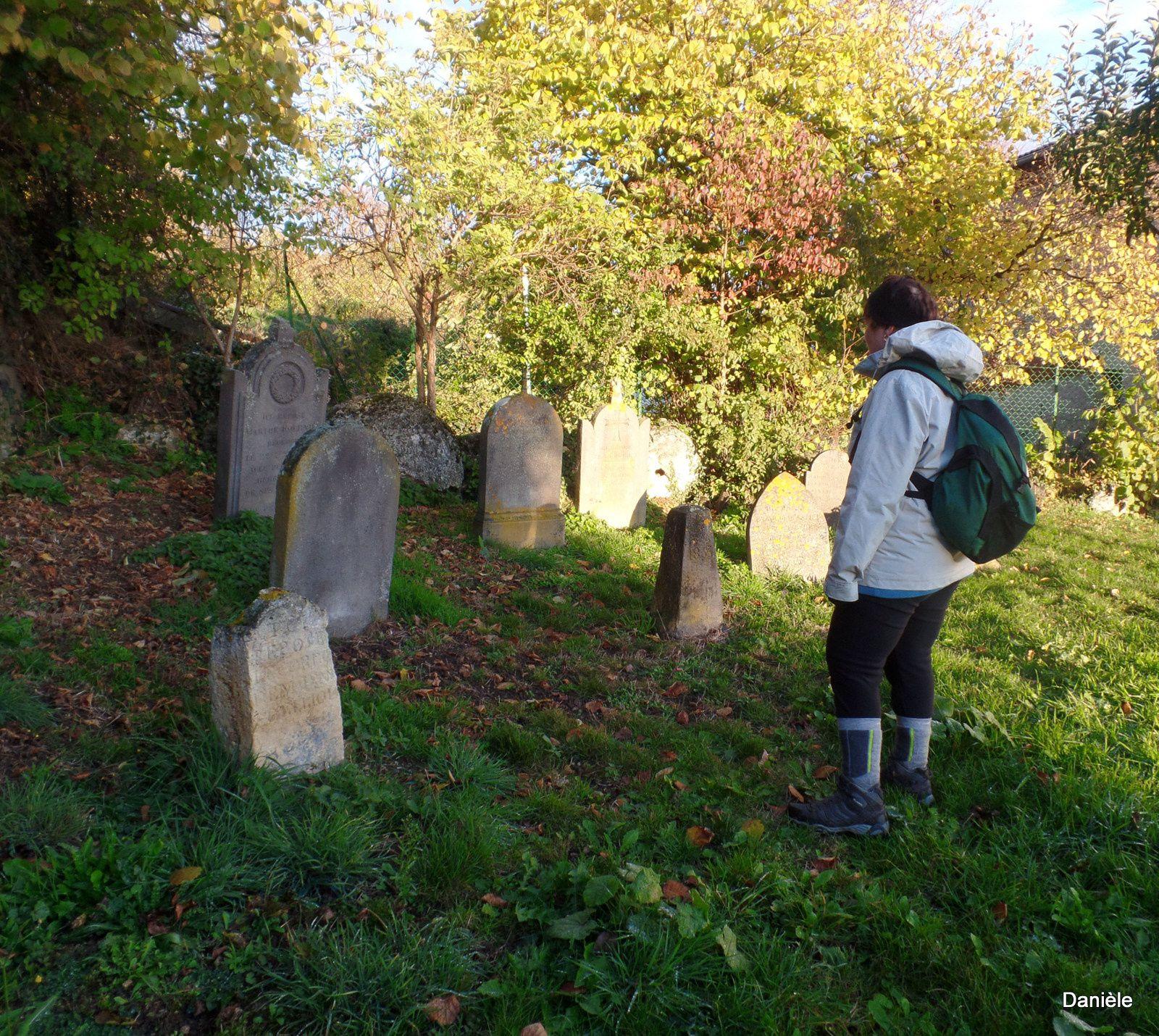Les pierres tombalesd dans ce cimetière désaffecté en 1891, laisse Bernadette songeuse. D'ici belle vue sur les Monts du Forez.