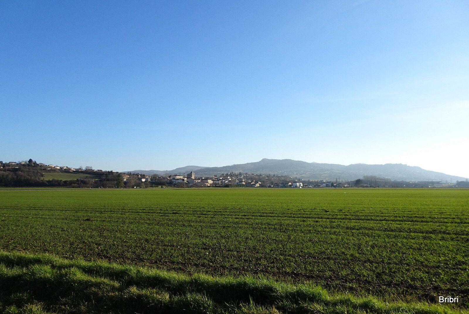 A notre gauche Pérignat/es/Allier, La Roche Noire au loin sur la butte. Nous longeons l'eau de nouveau.