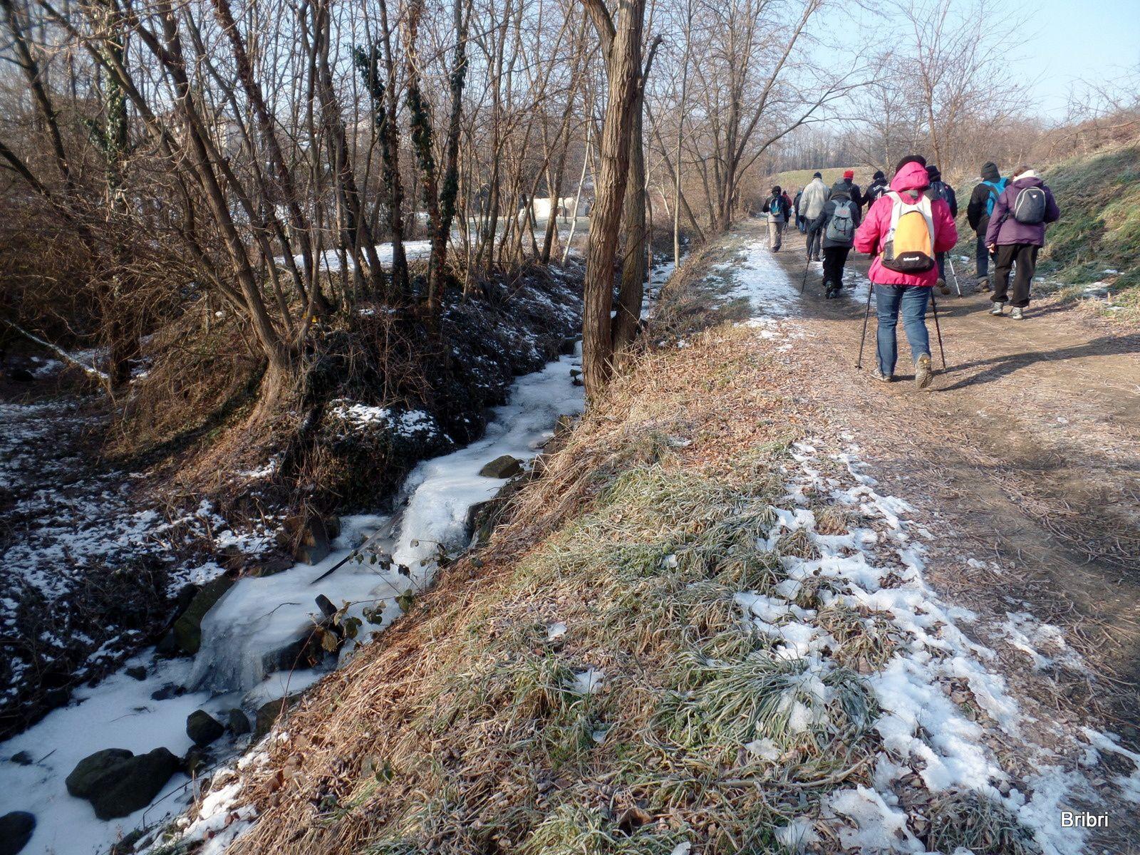 Toujours en montée nous longeons ce petit ruisseau complètement gelé.