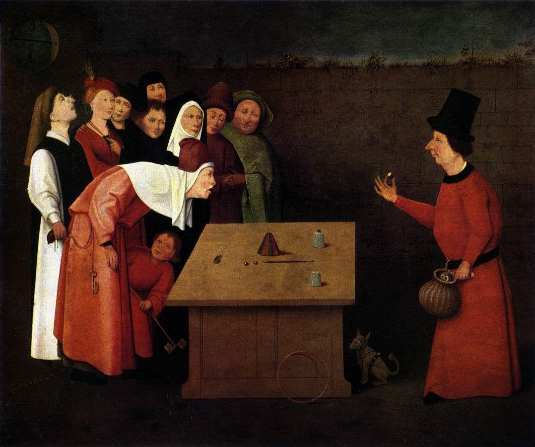 Ce tableau se trouve à ST GERMAIN EN LAYE, c'est une huile, il a été peint par Jérôme Bosch 1450 1516 le nom de ce tableau c'est l ESCAMOTEUR, mais il se nomme aussi LE CHARLATAN