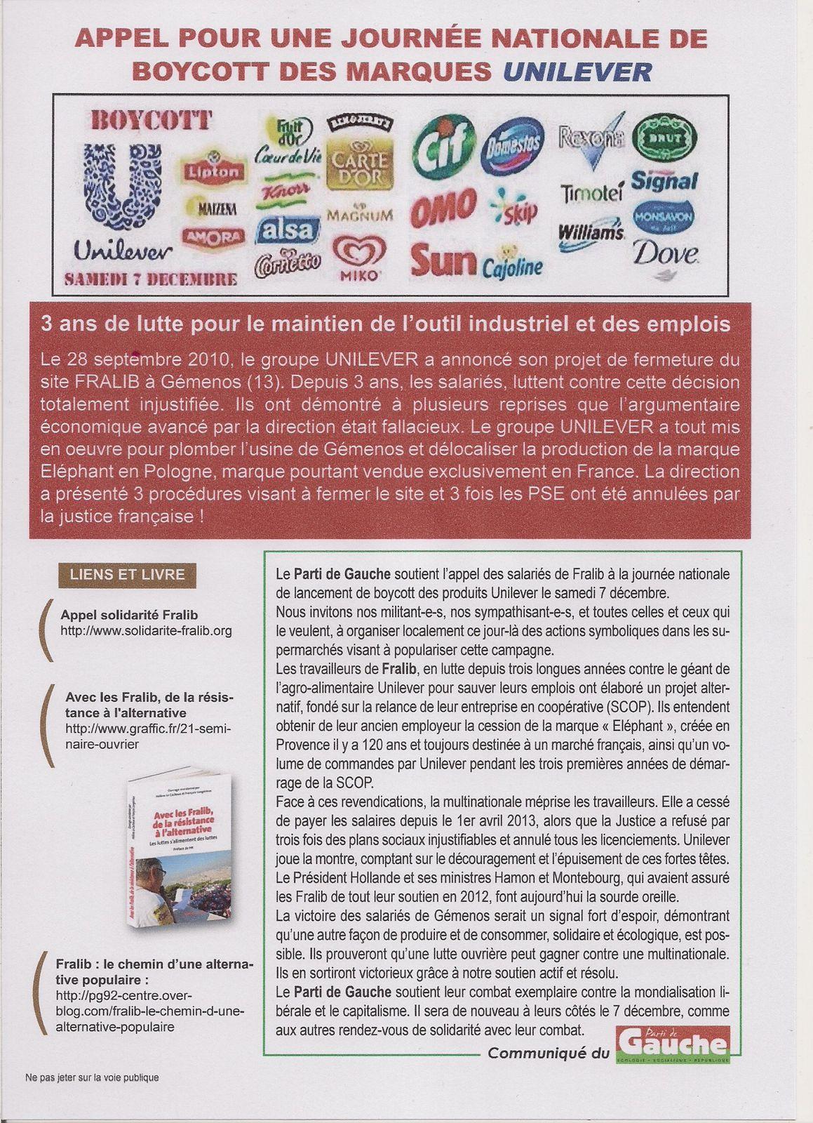 Chroniques fralibiennes (3) à Boulogne Billancourt. Lancement de la campagne de boycott d'Unilever le 7 décembre