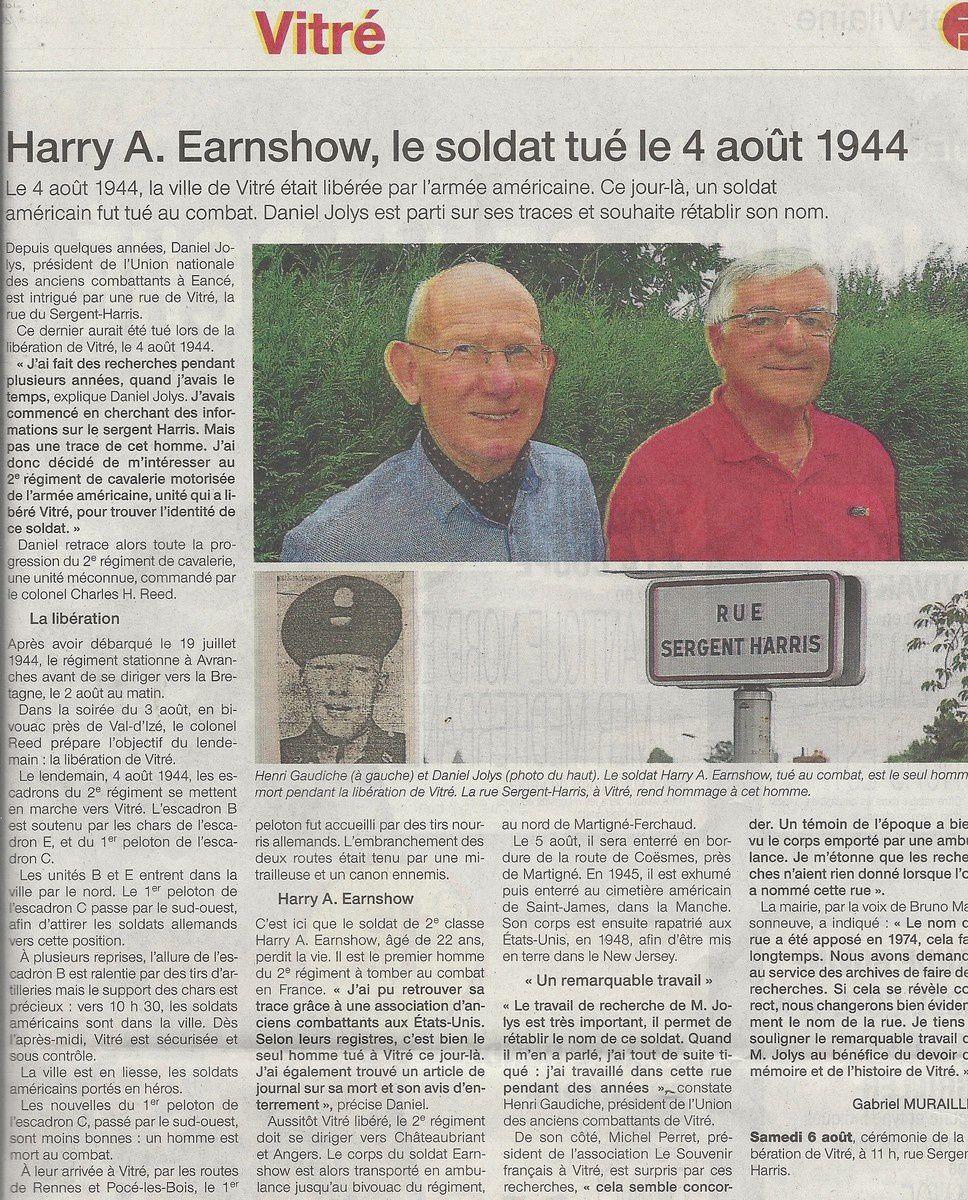 04 août 1944, libération de Vitré un soldat Américain est tué au combat :Harry A. Earnshow