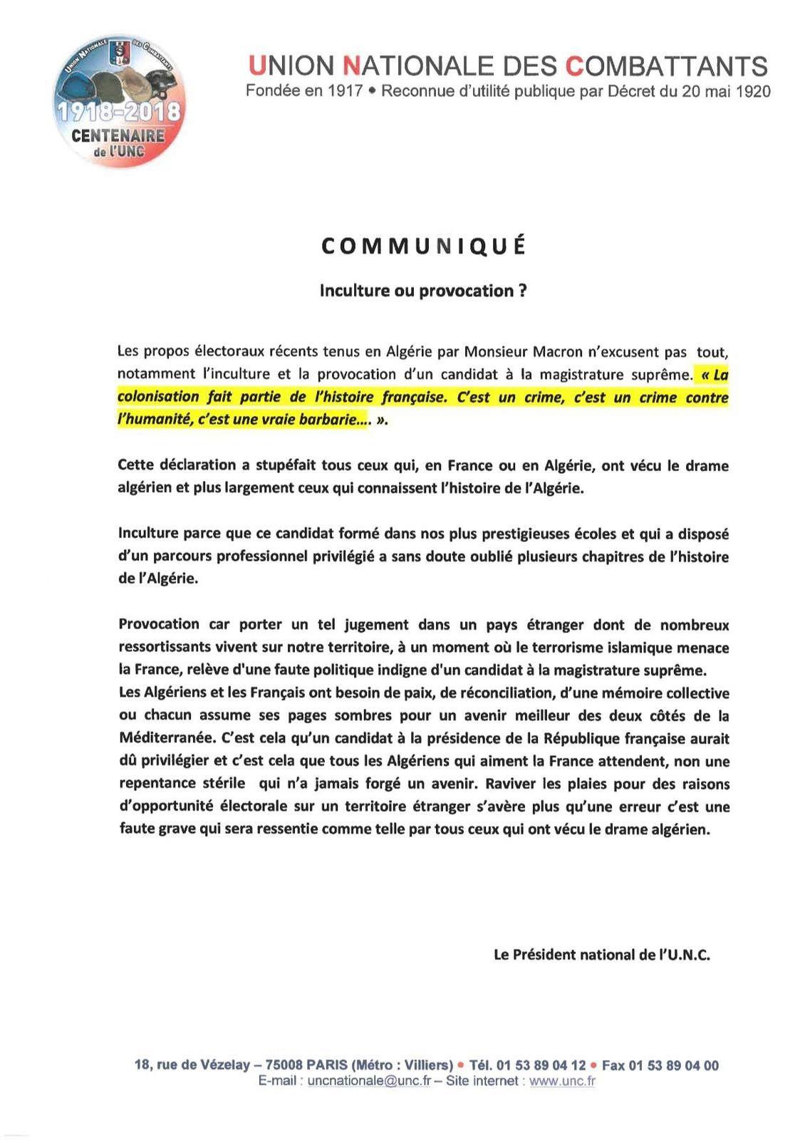 Communiqué de l'UNC Nationale suite à la déclaration de Mr Macron