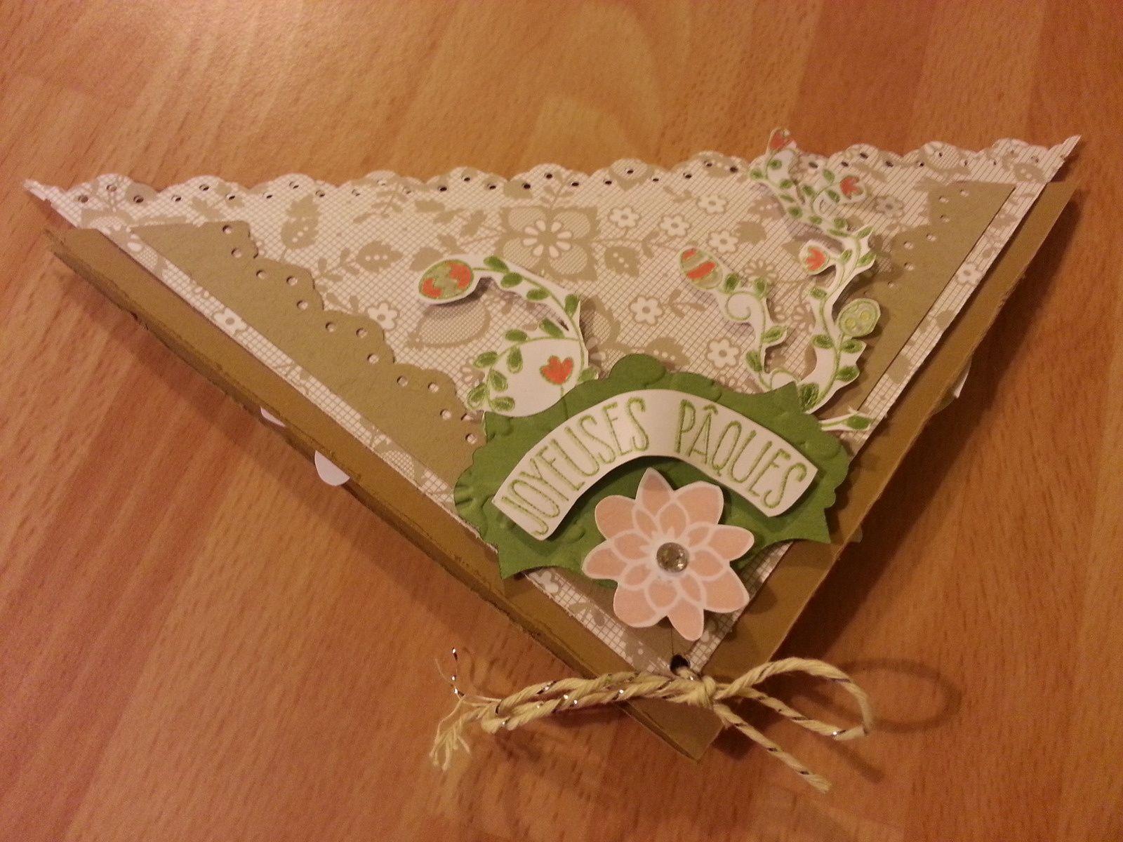Dans l'ordre une carte de pâques ,deux boites réaliser a la perforatrice tag festonnée,les deux cartes  et ma dernière page.