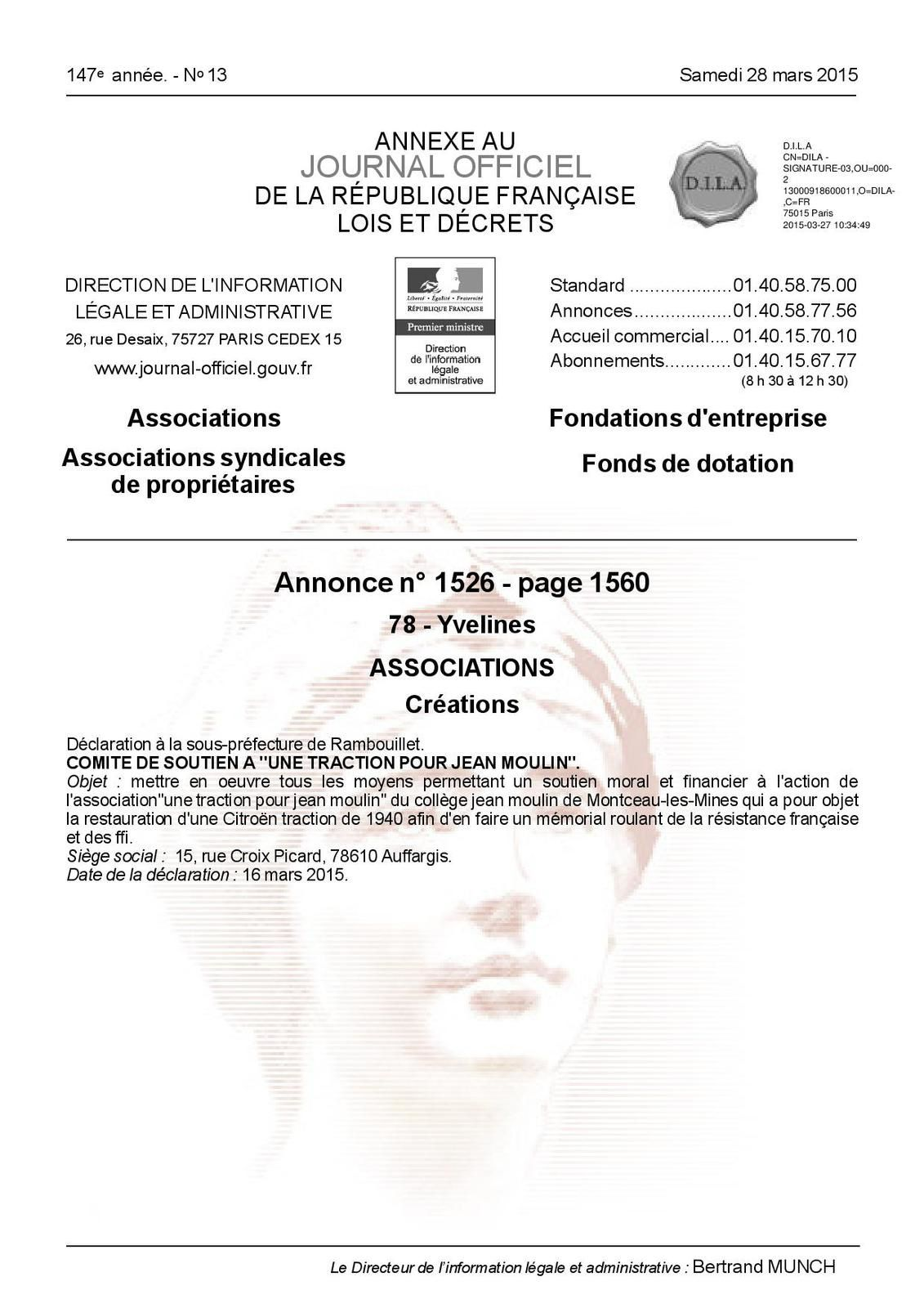 Comité de soutien à ''une traction pour Jean Moulin''