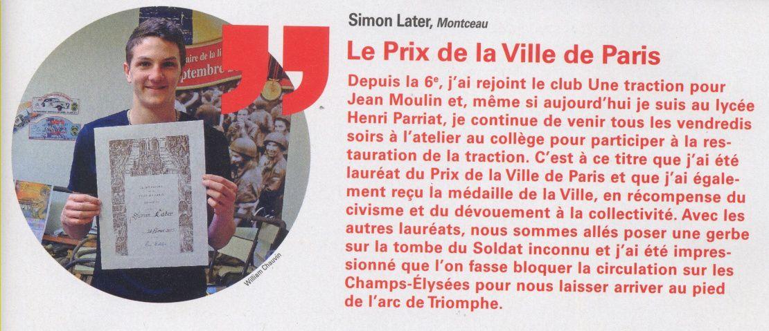 Témoignage de Simon dans la revue de la communauté urbaine Creusot Montceau, l'Actu N°31 mai/juin 2015, paroles d'habitants.