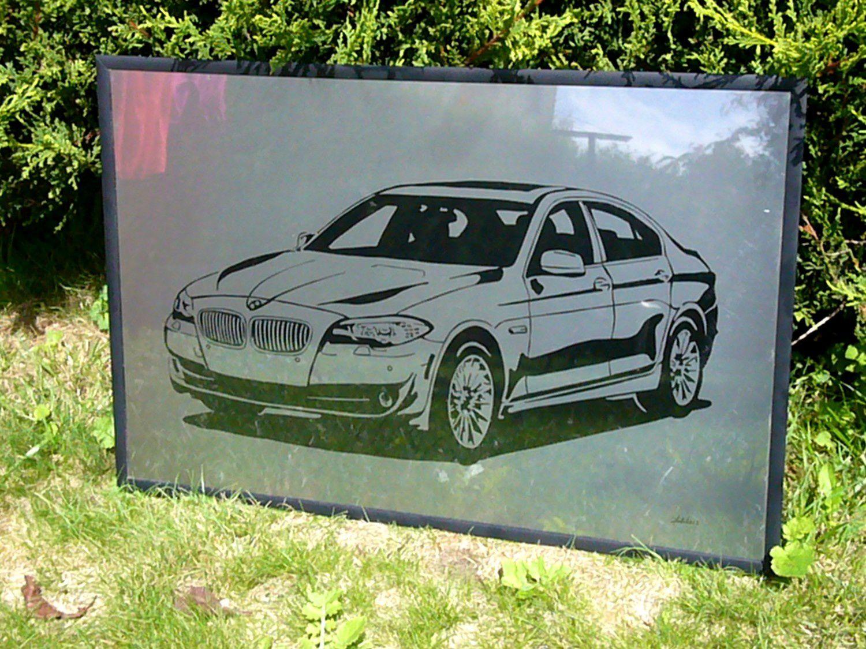 T ableau BMW 535 sur plaque d'inox 65x44 cm