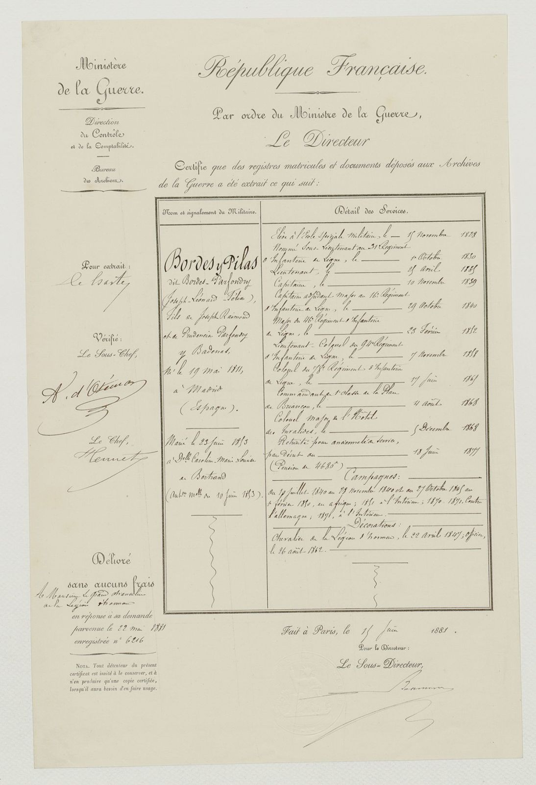 Description des services de Joseph-Léonard-Félix Bordes y Pilas, dit Bordes-Parfondry