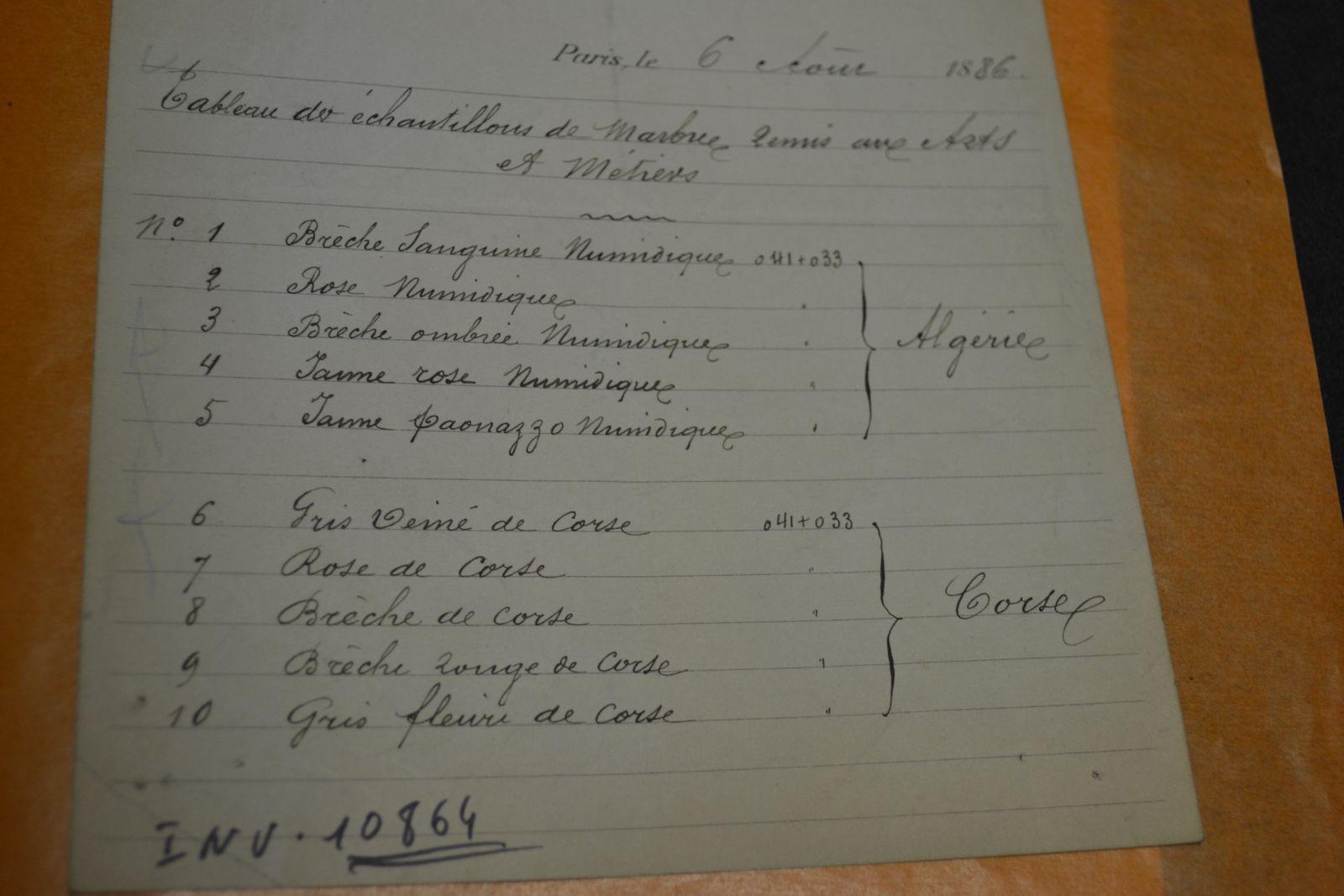 Liste des échantillons de marbres d'Algérie et de Corse transmis au Musée des Arts et Métiers