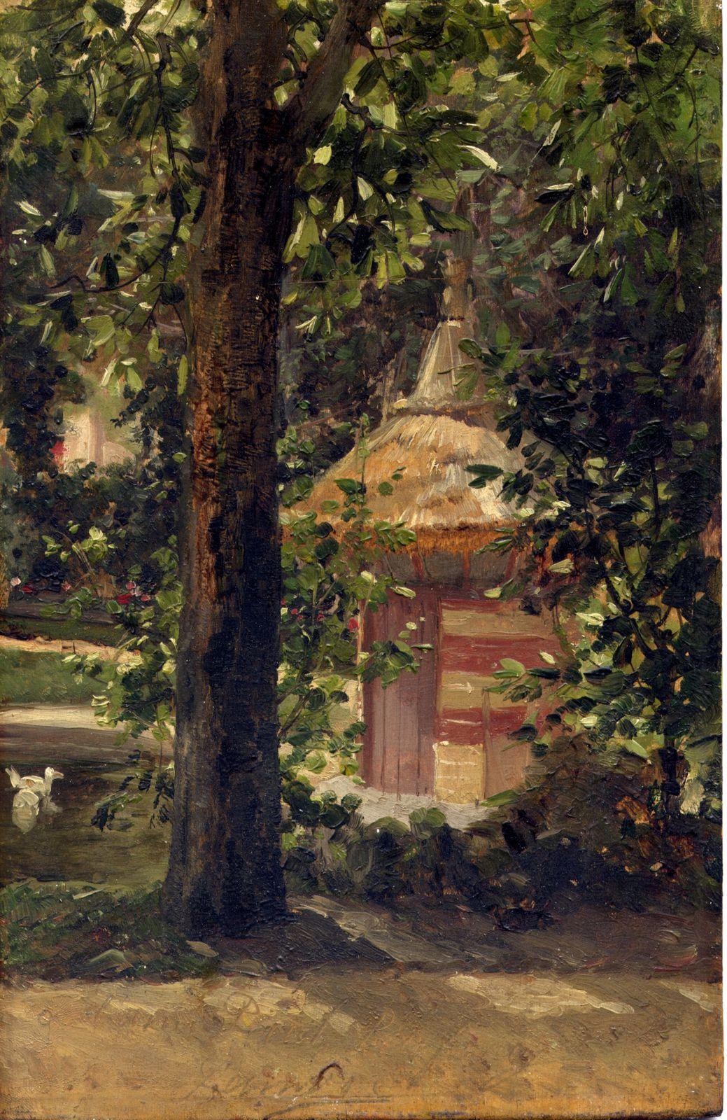 Tableau représentant une vue sur le jardin de la villa de Créteil