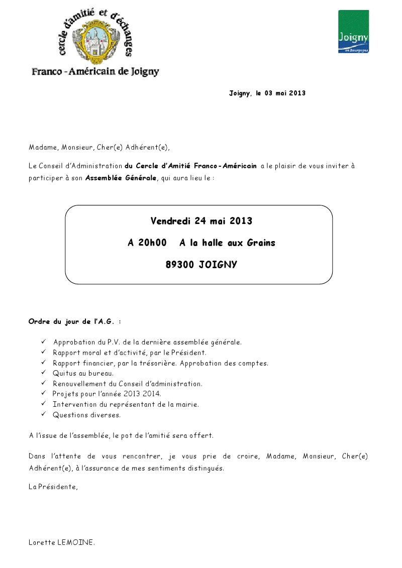 INVITATION A NOTRE ASSEMBLÉE GÉNÉRALE 2013