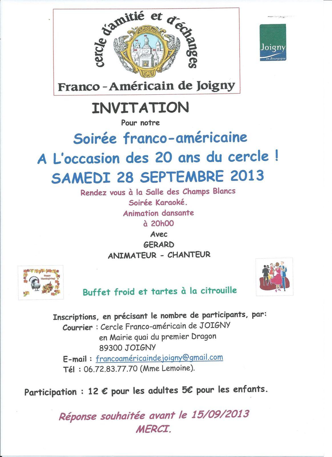SOIRÉE FRANCO-AMÉRICAINE  28 SEPTEMBRE 2013