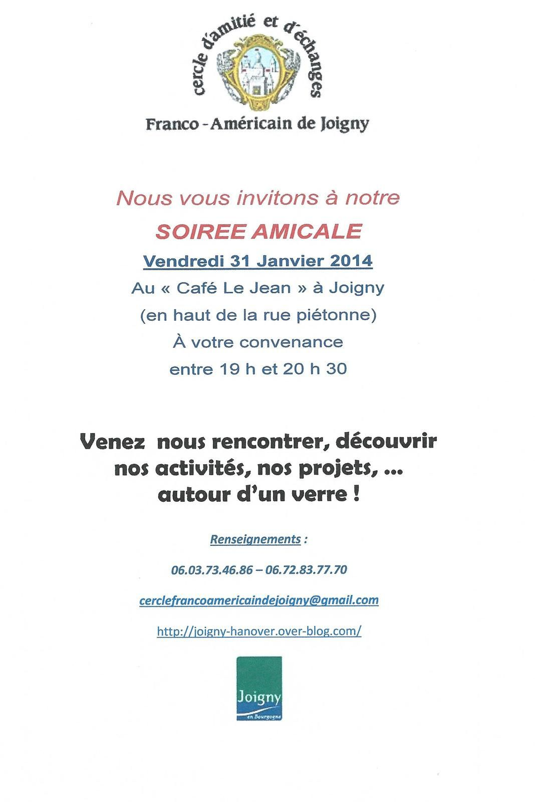 INVITATION A NOTRE SOIRÉE AMICALE DE DÉBUT D'ANNÉE 2014 !!!