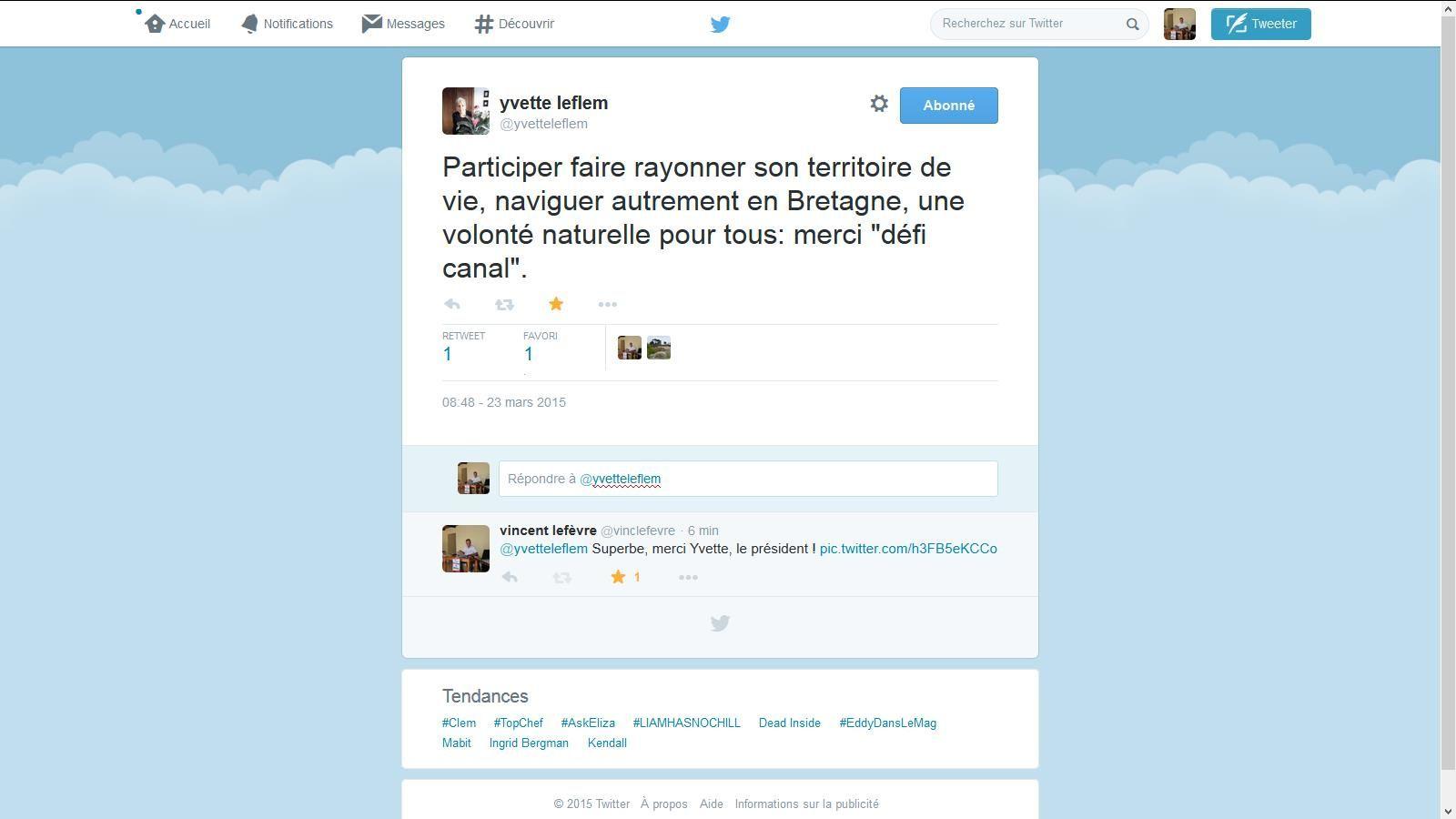 Yvette s'exprime sur Twitter !, merci à vous.