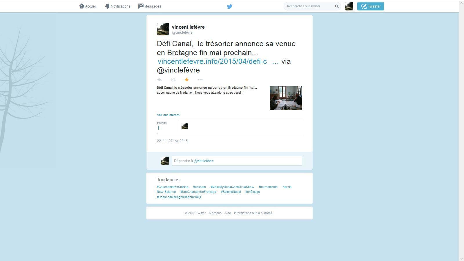 Twitter pour Défi Canal, une affaire qui tourne bien !