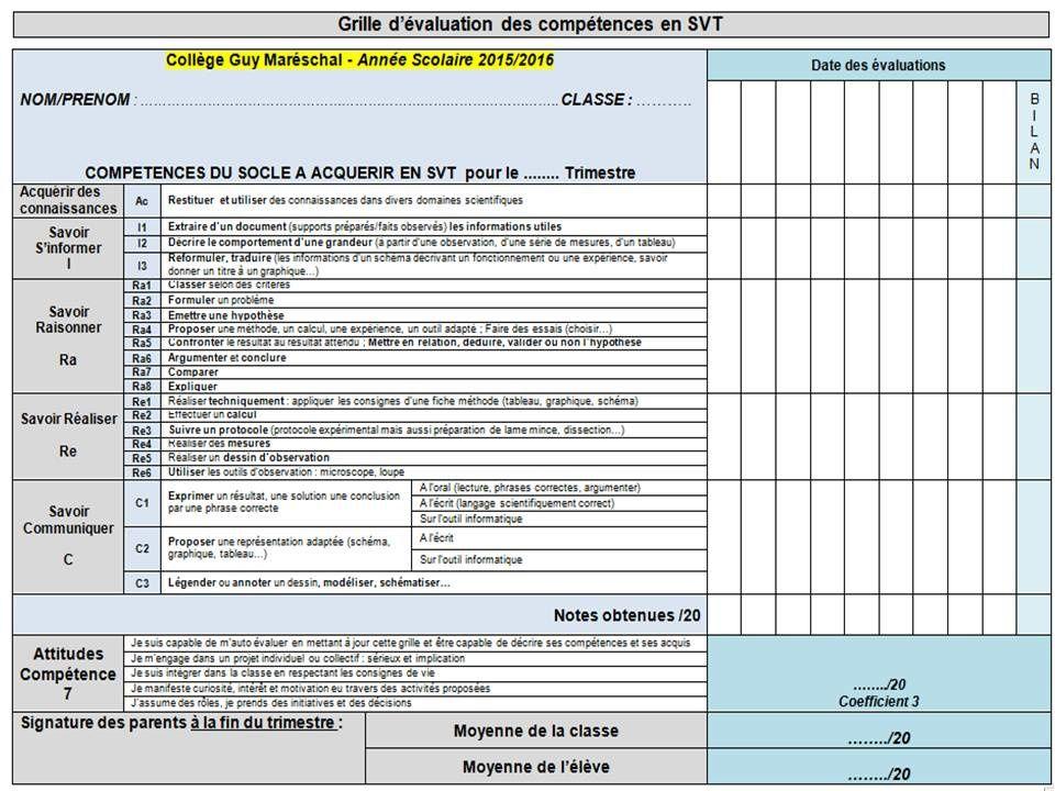 Grille de comp tences avec notes cours de svt en ligne - Grille d evaluation des competences infirmieres ...