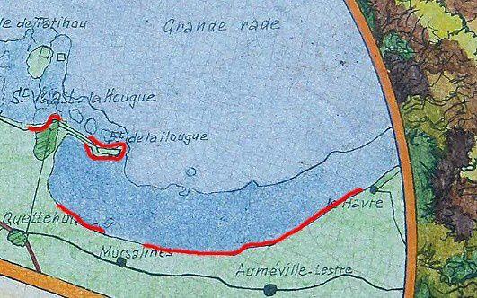 """Parcours de l'étape Quinéville - St-Vaast-la-Hougue-fort de la Hougue- Morsalines et Cordon dunaire  d'après la table d'orientation de """"La Pernelle"""""""