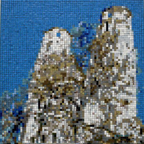 les deux tours en mosaïque