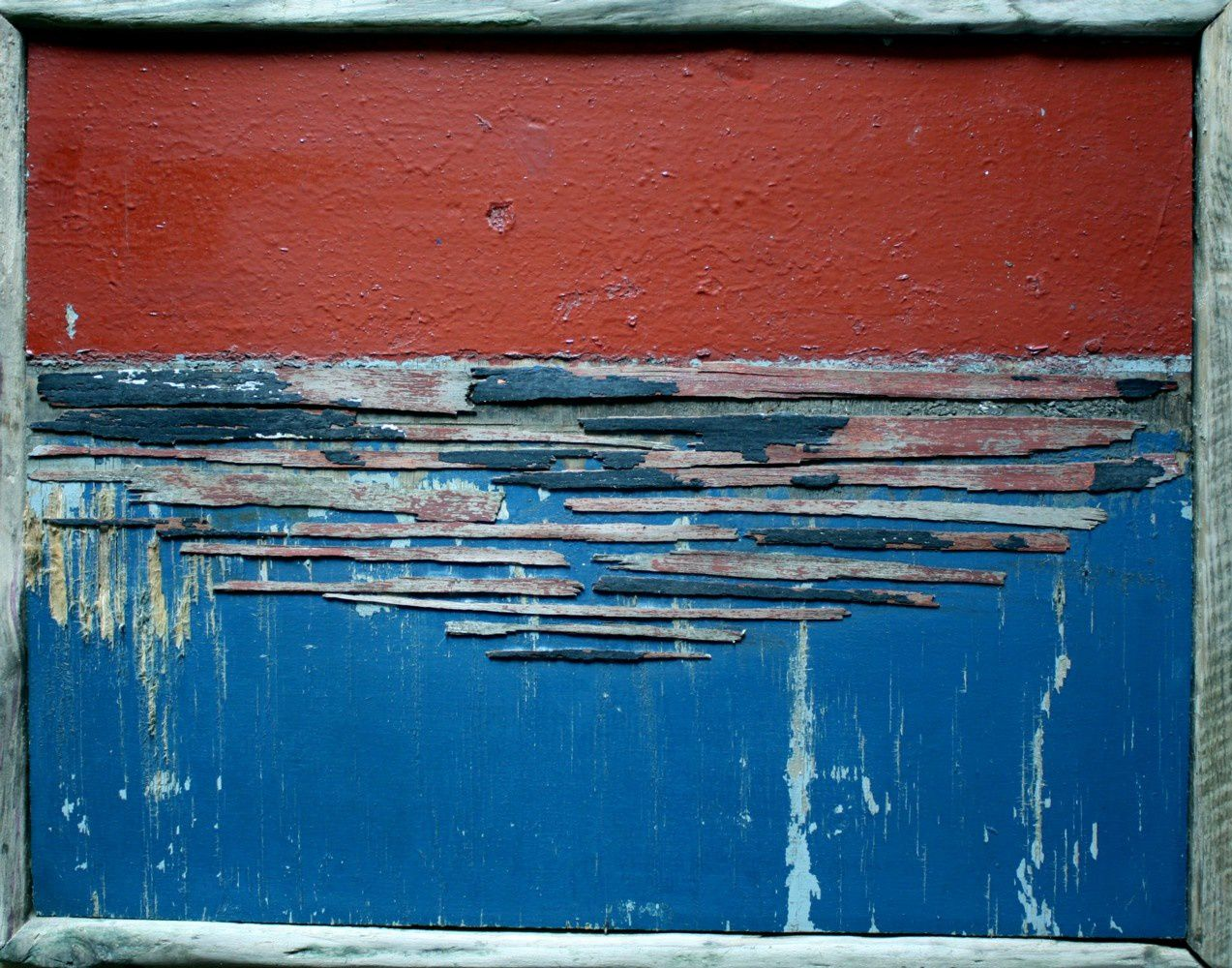 Channel n°39 - Red sky and blue channel - assemblage mixte © Pascal Levaillant 2016