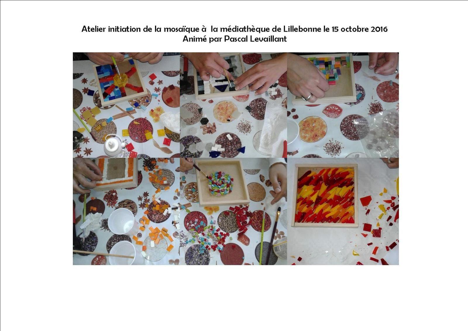 Atelier initiation de la mosaïque à  la médiathèque de Lillebonne le 15 octobre 2016, animé par Pascal Levaillant