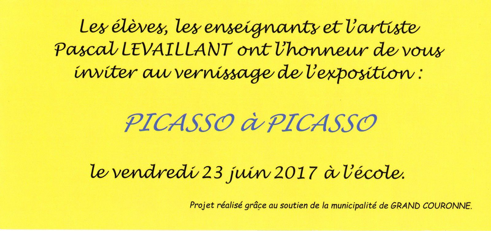 invitation au vernissage verso