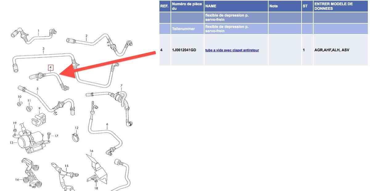 Remplacement flexible servo-frein sur Audi A3 8L