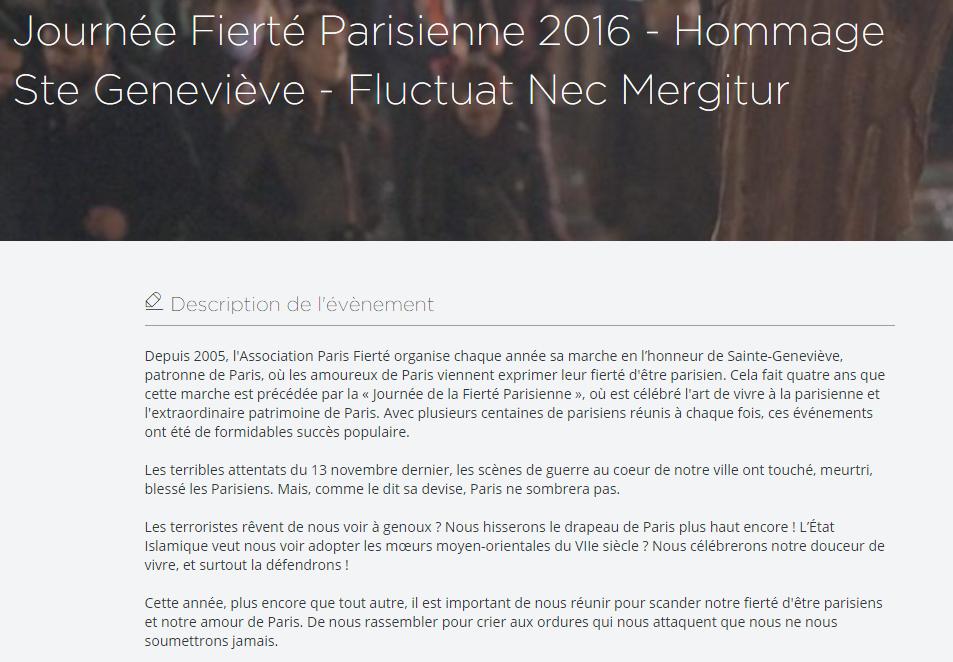 La Journée de Fierté Parisienne , en hommage à Sainte Geneviève, aura lieu le samedi 9 janvier