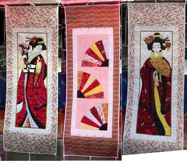 "Quilt paravent ""Geishas"" / Tryptique"