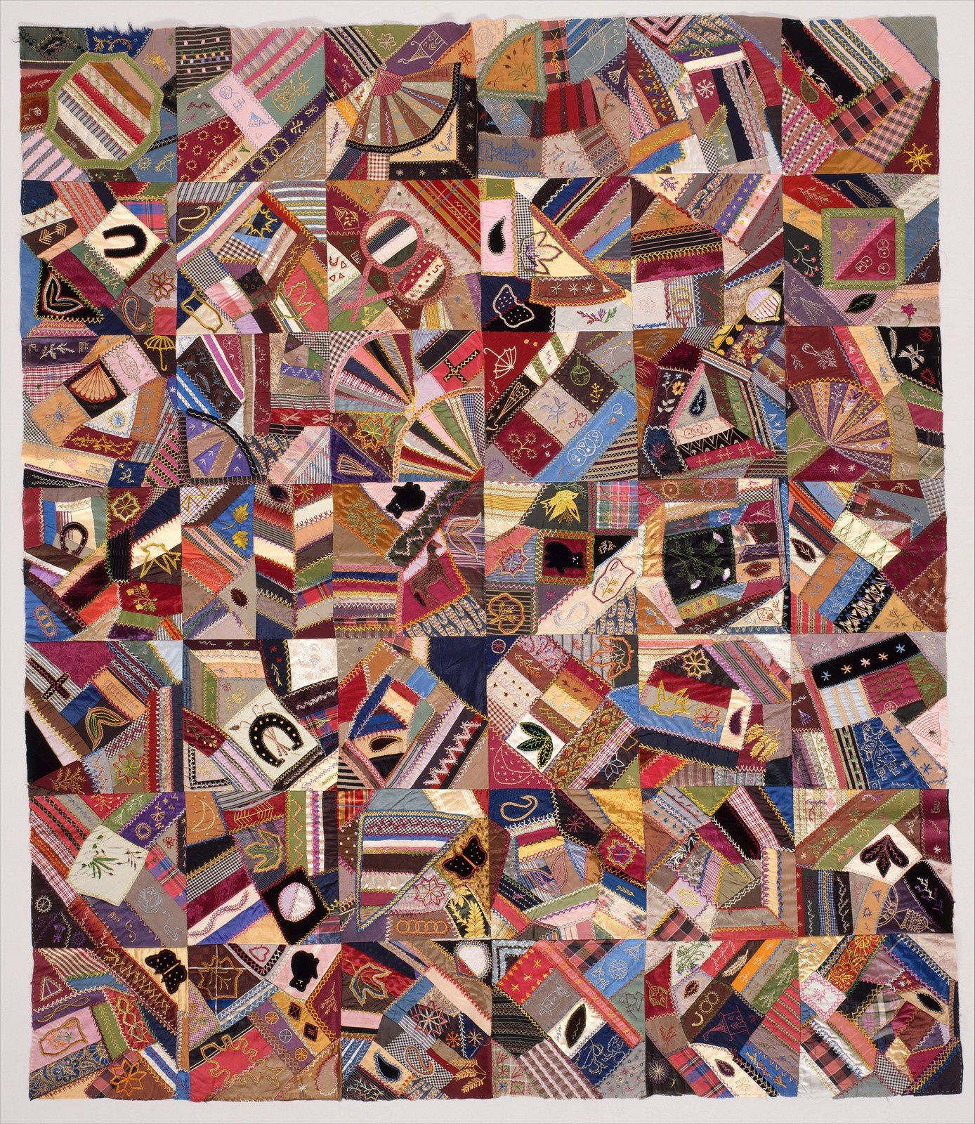 Quilt Top, Crazy pattern, ca. 1885, Silk, satin, velvet, and cotton, 60 3/4 x 52 in. (154,3 x 132,1 cm)