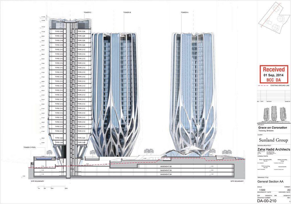Images de rendu 3D par Zaha Hadid Architects - Source : QLD Gov