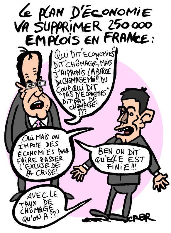 Le plan d' économie va supprimer 250 000 emplois en France: