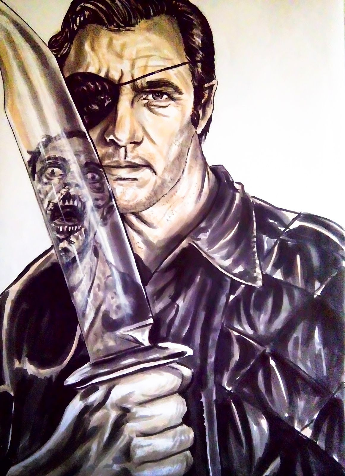 illustration de la serie the walking dead ,le gouverneur