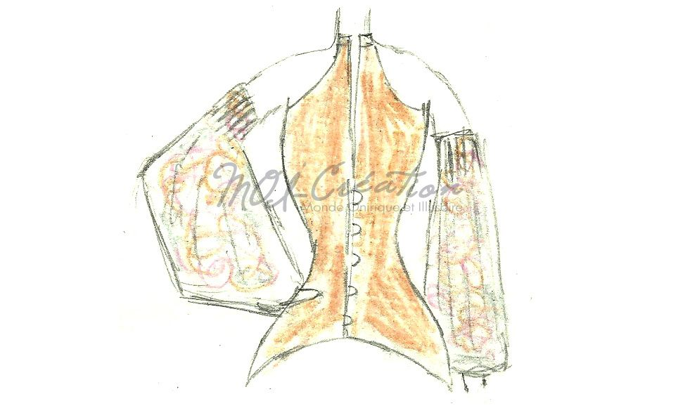 Corset en Bazin orange