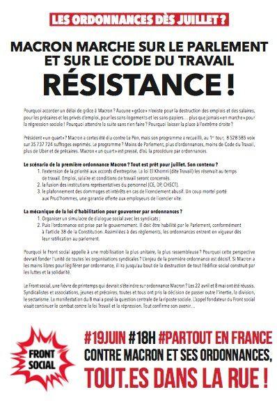 Le 19 juin tous dans la rue contre les ordonnances Macron