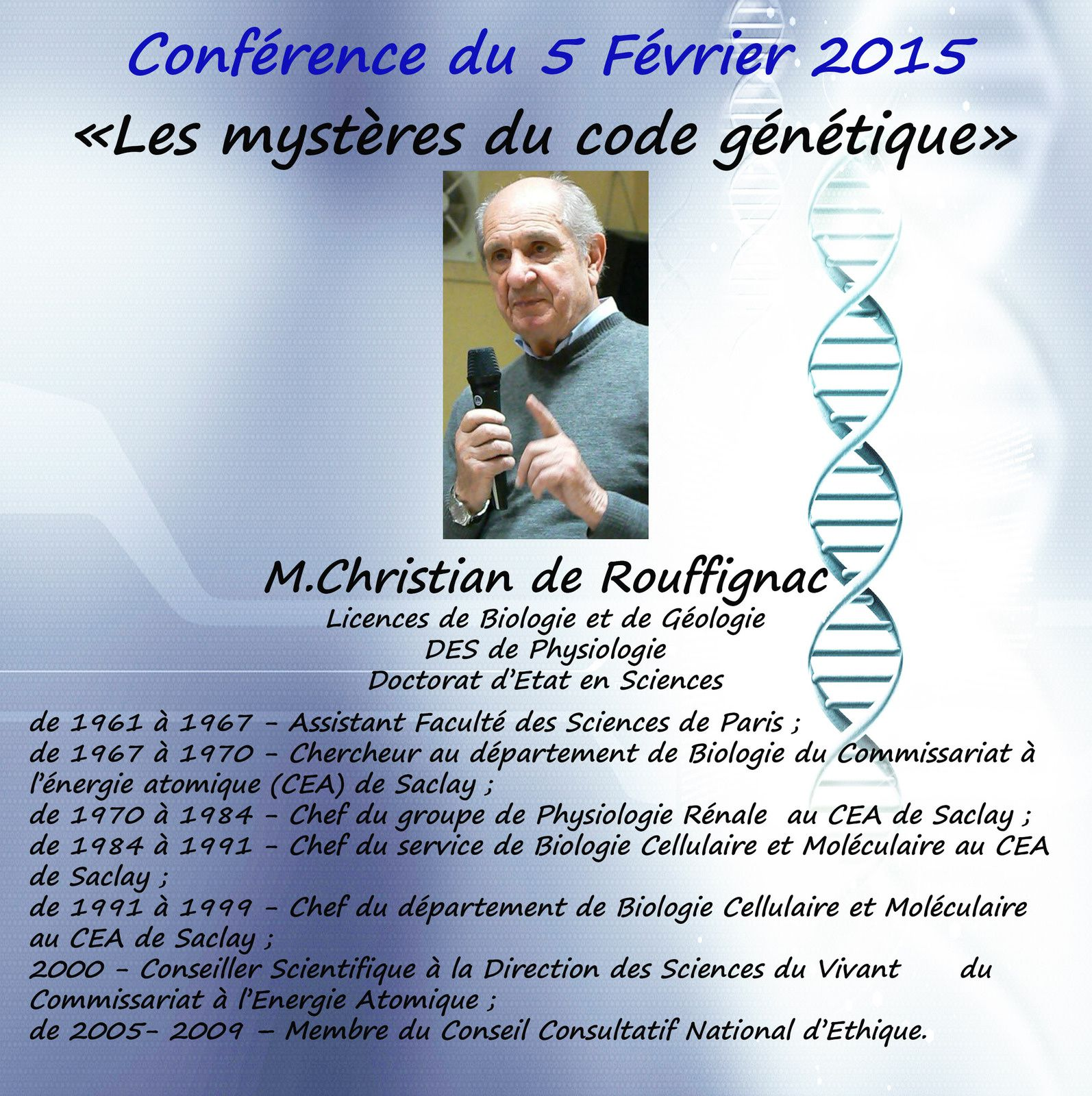 &quot&#x3B;Les mystères du code génétique&quot&#x3B;