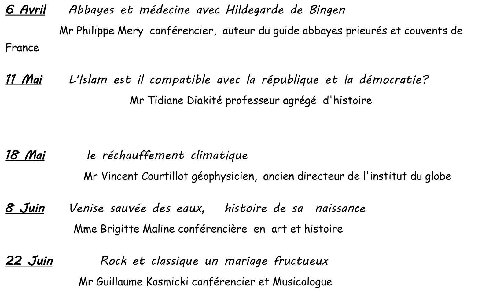 &quot&#x3B;PROGRAMME ANNUEL DES CONFÉRENCES&quot&#x3B;