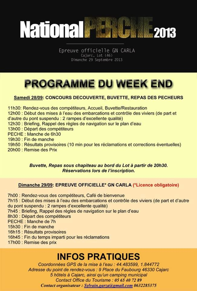 NATIONAL PERCHE   28-29 Sept.  Cajarc 46. (Lot)