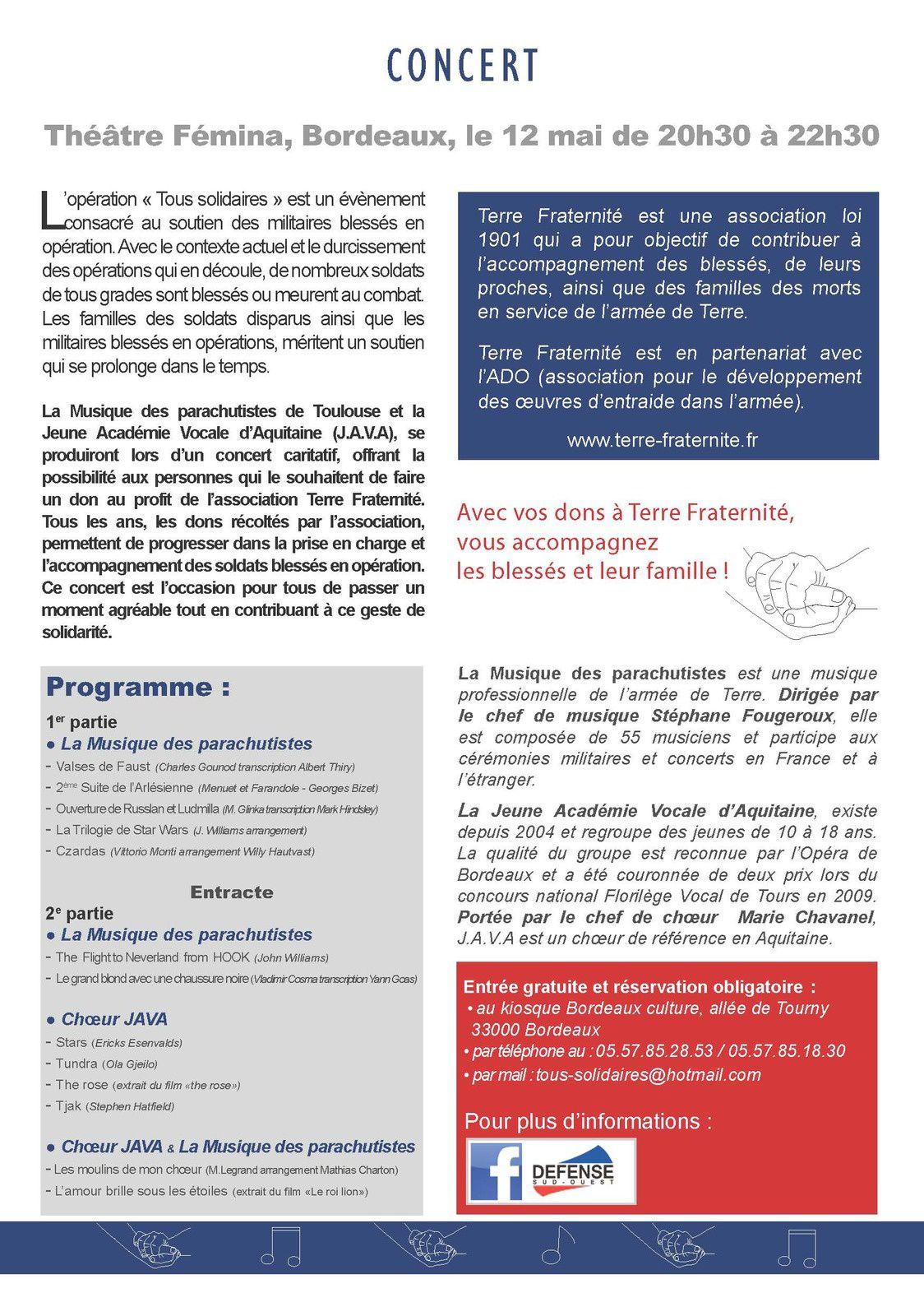 Concert caritatif au profit des soldats de l'armée de Terre blessés pour la France