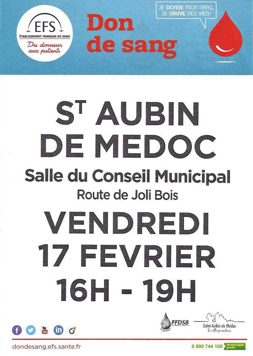Don de sang à St Aubin de Médoc