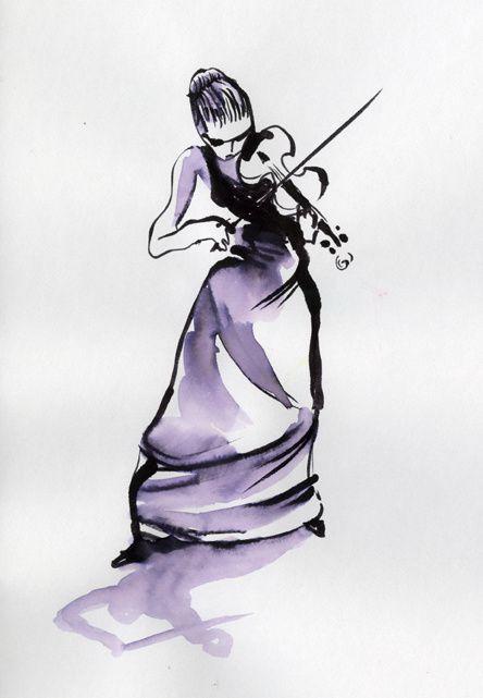 Julia Fischer croquée par Ivan Sigg à la Salle Pleyel