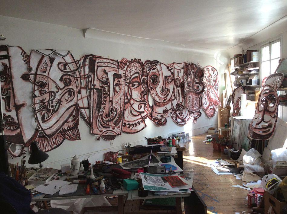 Les 24 masques (recto) dans mon atelier