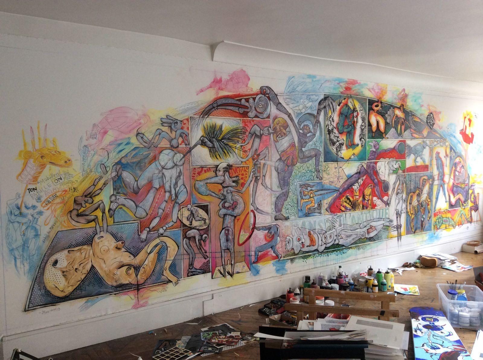 """""""Babylone Mabillon"""" ma toile de 8mx3m que vous ne verrez pas car le plafond de la galerie est à 2,45m oups !"""