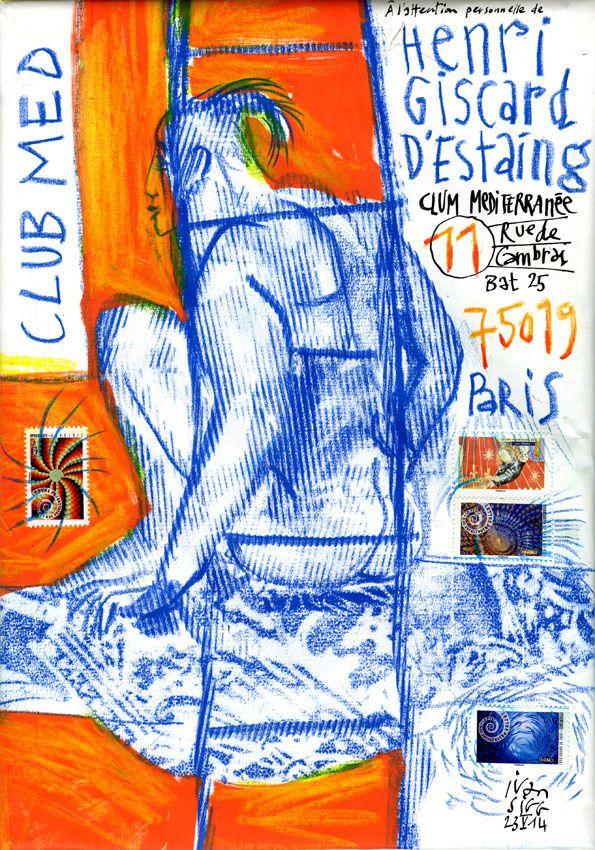 Quand un nu peint chez Jan Olsson se métamorphose en enveloppe agrémentée des timbres de Sylvie Patte et Tanguy Besset