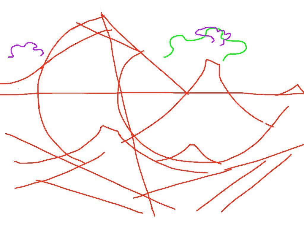 Il y a même une similarité dans le cumuls blanc de La Vague (en vert ici),  le cumulus gris du Radeau (en violet à gauche) et le vêtement agité (en violet dans le vert)