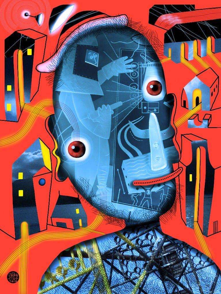 """""""L'oeil crée le monde"""" oeuvre numérique reproduite pleine page parmi les 48 oeuvres du catalogue. Une lecture possible : la mondialisation commence par chacun de nous. Voyage dans la tête de l'artiste (iici en train de graver du verre dans on étrange scaphandre) et dont la créativité rayonne dans un petit périmètre qu'il appelle son village. Un regard ouvert, une attention au monde sans jugement, bonifient la planète, pas la mondialisation."""
