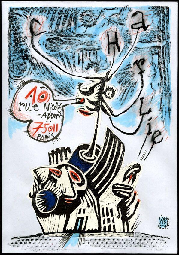 L'art, la peinture, le dessin de presse et la caricature, peuvent-ils s'éclairer ? Enveloppe 24x32cm