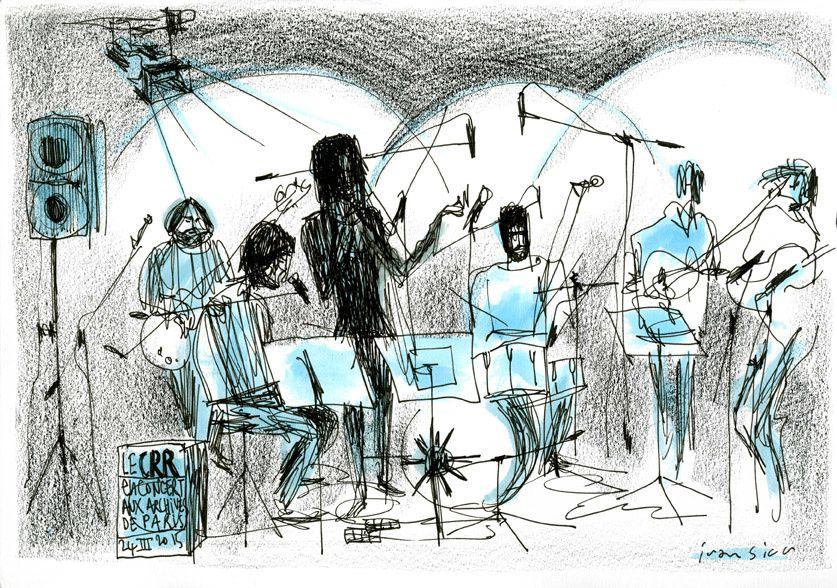 Musiciens reliés par une forêt de micros et de cables