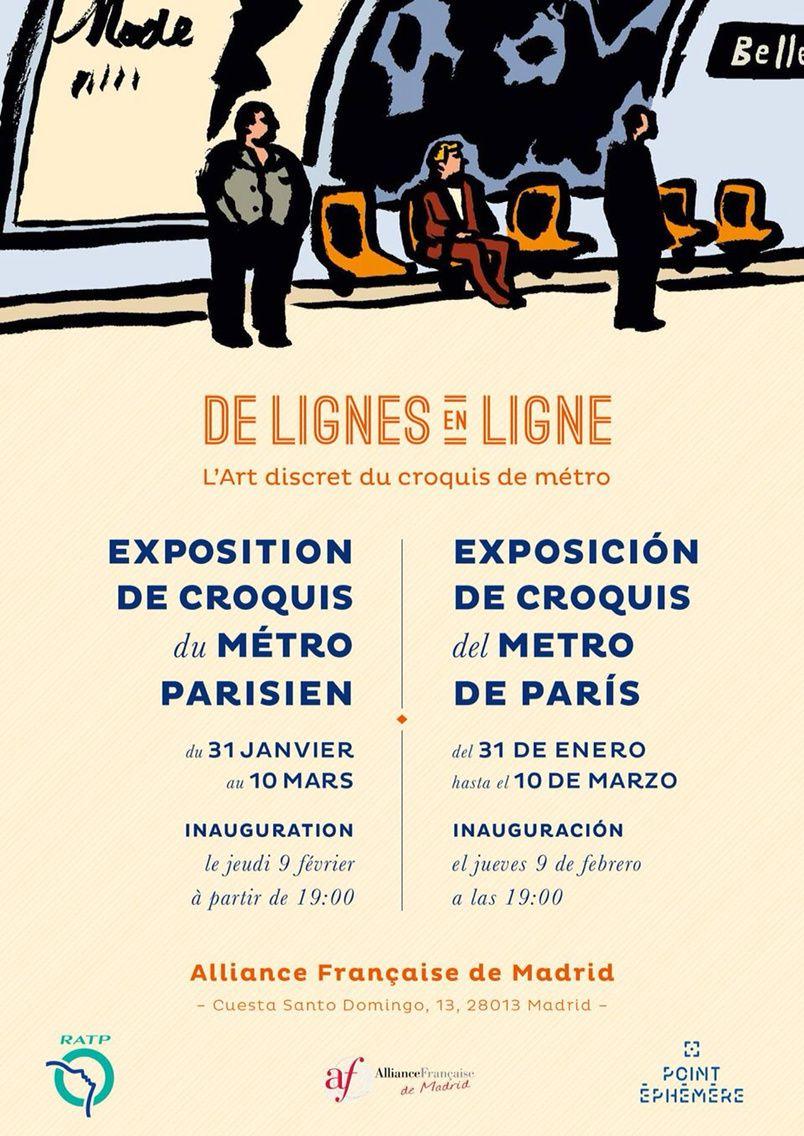 Exposition de croquis du métro parisien à l'Alliance Française de Madrid